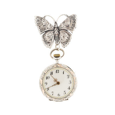 Swiss 1890's Pendant Pocket Watch with Sterling Butterfly By Cini