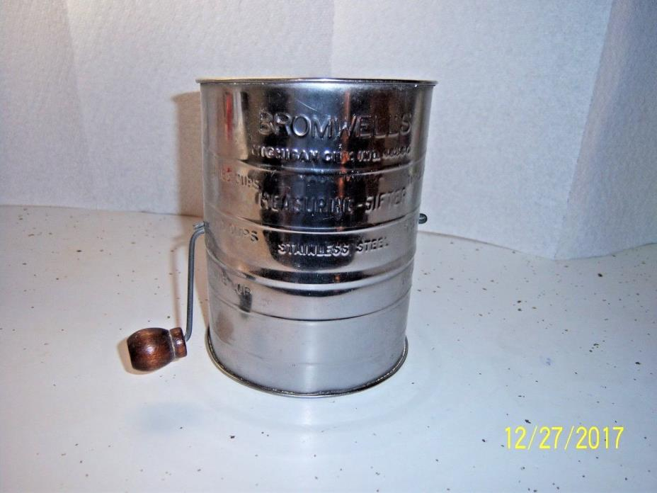Bromwells Sifter STAINLESS STEEL Measuring Flour Vintage Wood Handle 3 Cup CLEAN