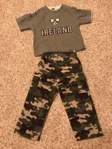 Ireland Kids T-shirt and Camo Pants Lot X2 Baby Toddler Youth size 2T