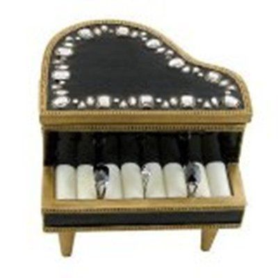 Piano Gems Jewelry Box Ring Holder Black Color