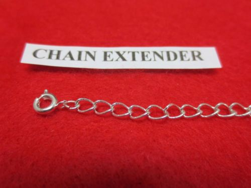2 INCH 14KT WHITE GOLD PLATED 4MM NECKLACE EXTENDER WITH SPRING RING CLASP