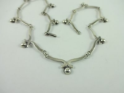 Vintage Sterling Silver  Mexico Signed CHS Half Bead Unique Design Necklace 15