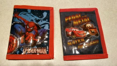 Kids wallet lot of two tow mater lightning mcqueen spiderman