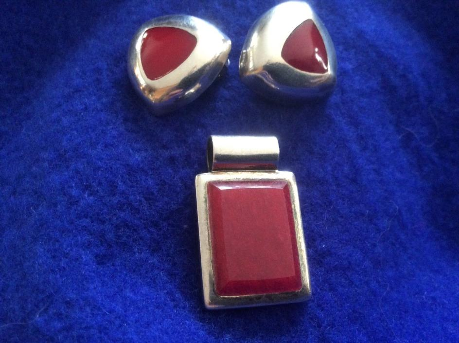 Vintage Sterling  Red Stone Earrings & Pendant Set  Signed