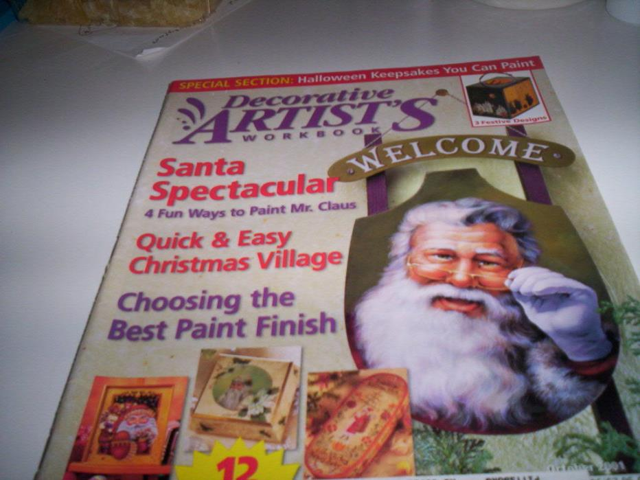 DECORATIVE ARTIST'S WORKBOOK OCT 2001 Halloween Christmas  4 Santas Old world
