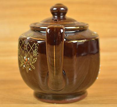 Teapot Japan  Brown Flower Design With Lid Estate Find