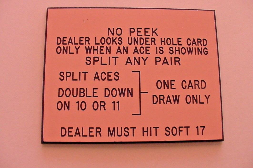 NO PEEK TWENTY-ONE CASINO RULES TABLE LIMIT SIGN BLACKJACK GAME PINK & BLACK