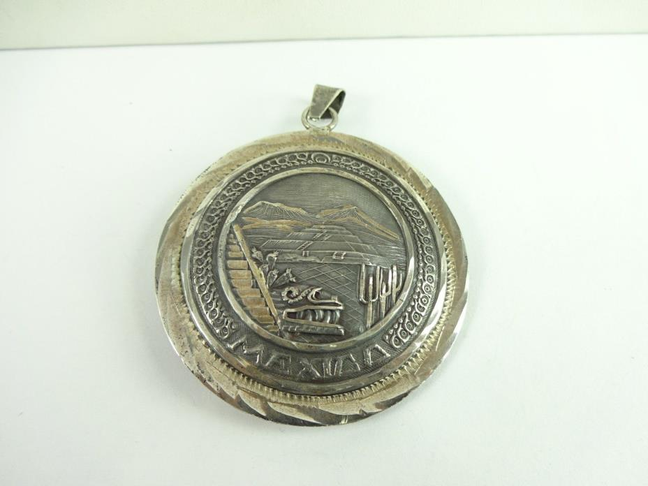 Vintage Sterling Silver Aztec Mayan Calendar Double Sided Heavy Pendant 40.6 Grm