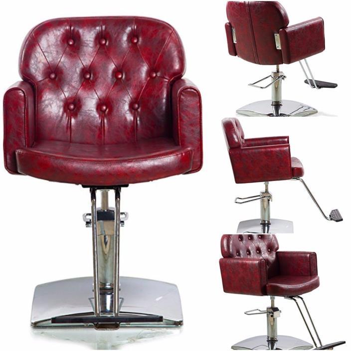 Hydraulic Styling Comfortable Barber Chair Duty Steel Frame Hydraulic Pump Brown