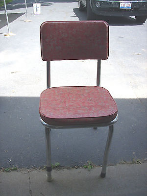 Vintage Chrome Kitchen Chair with Red Seat and Back