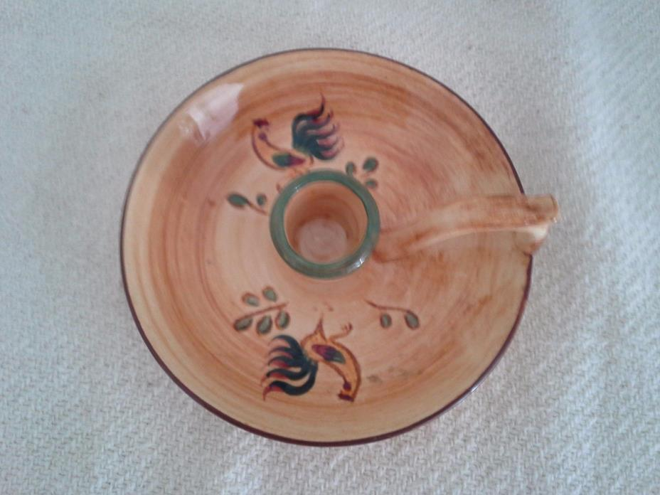 Vintage Pennsbury Pottery Red Rooster Handled Candle Holder EUC!