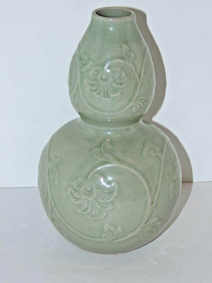 Beautiful Celadon Double Gourd Vase - Scrolling Floral Design