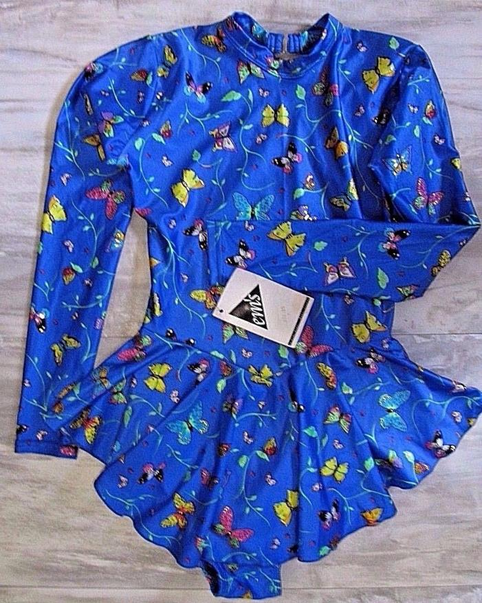 Vtg 90s EMs womens sz S Ice skating dress blue butterfly competition New
