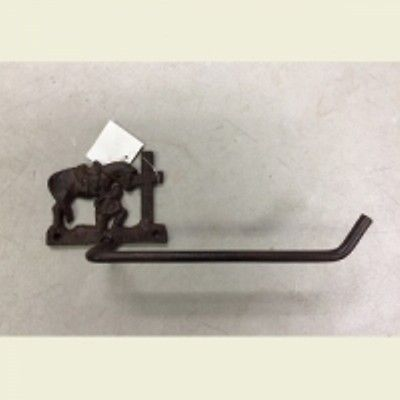 Western Cast Iron Praying Cowboy Toilet Tissue Holder Rustic Decor