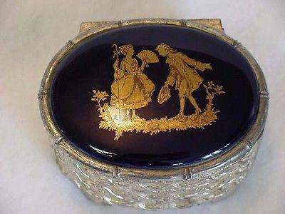 Vintage Cast Metal 1950's Jewelry Box Porcelain Top Cobalt Blue Romantic Couple