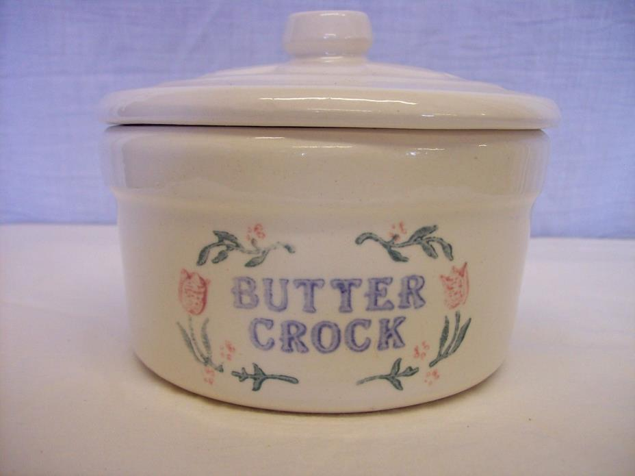 Vintage Style Stoneware Butter Keeper Crock Canister