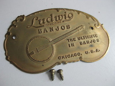 Vintage Ludwig Banjo Brass Maker Plate for Project / Repair / Upgrade