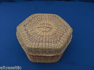 Vintage China Intricate Handmade Basket with Lid forTrinkets or Sewing