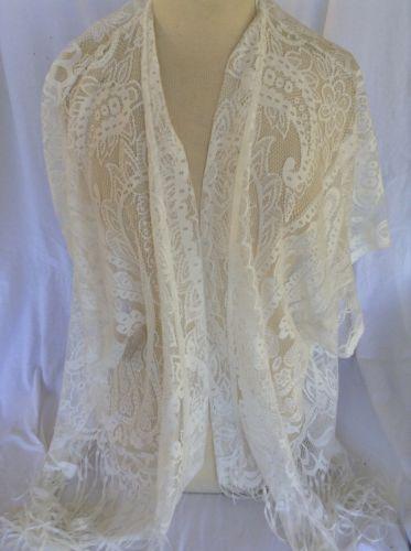Boho Bridal Cover Up Shawl Kimono Sleeve Flowy Ivory Lace Wedding Cardigan Beach