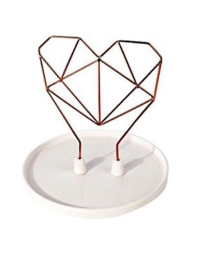 Coxet Wire Heart Ceramic Jewelry Holder- Copper Metal-New in Box