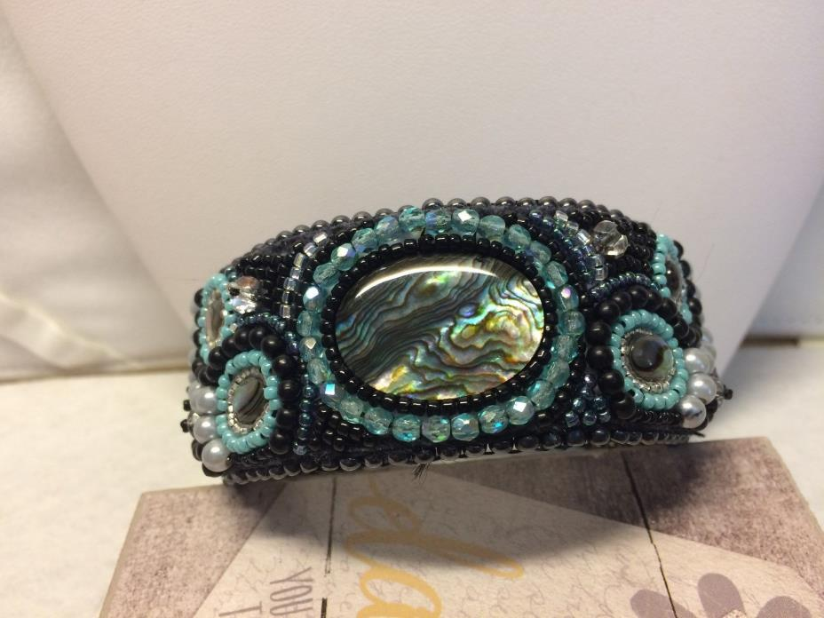 Handcrafted Womans Abalone and Beaded Cuff Bracelet