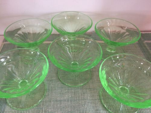 Vintage Green Vaseline  Glass Depression 6 Sherbet Dishes