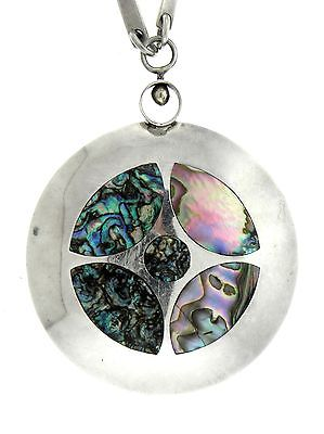Modern Abalone Inlay Sphere Sterling Silver Flat Disc Long Link Chain Necklace