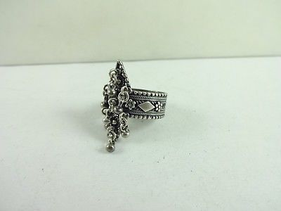 Vintage Sterling Silver Rare Unique Bali Charm Bead Ring Size 7.75  7.1 Gram