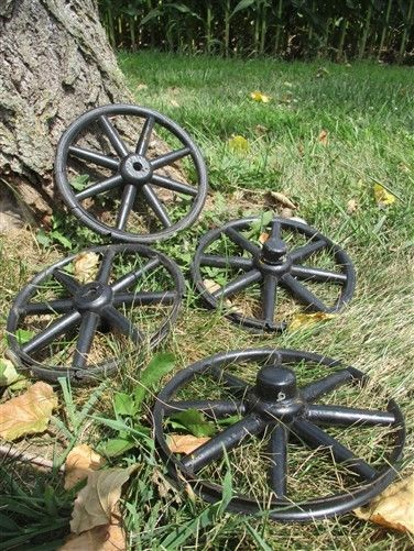 4 Vintage Wood Metal Baby Buggy Wheels Pedal Cart Garden Cart Pumpkin Wagon a11
