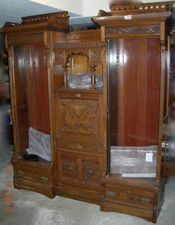 CHERRYwood USA Made VICTORIAN Original Double Secretary ORNATE Bookcase c.1885