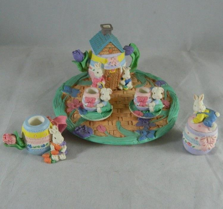 10 Pce Miniature Easter Bunny Decorative Tea Set Teapot Peter Rabbit cottontail