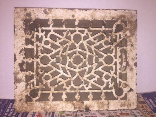 ANTIQUE Floor GRILLE CAST IRON VICTORIAN LOUVERS Grate HEAT VENT REGISTER #1