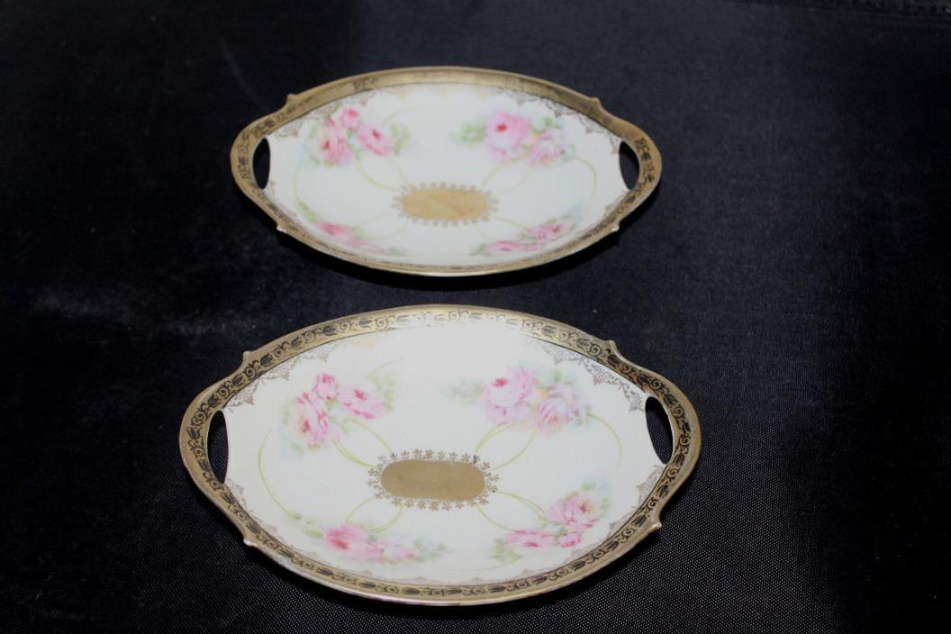 Antique China  Bavaria Pink Flowers Gold Floral Trim #5 Crown with M mark