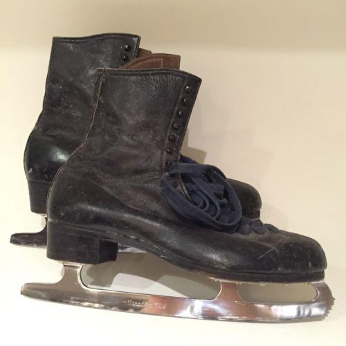 VTG Oberhamer Shoe Co. Mens Figure Skates Size 10 M 200 Leather Canadian Steel