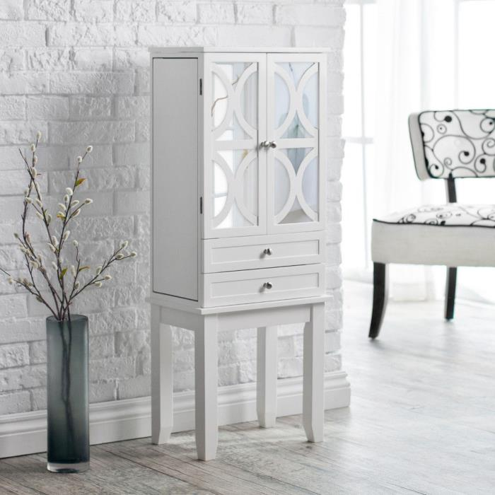 White Gloss Jewelry Armoire Lattice Pattern Mirror Door Cabinet Home Living Furn