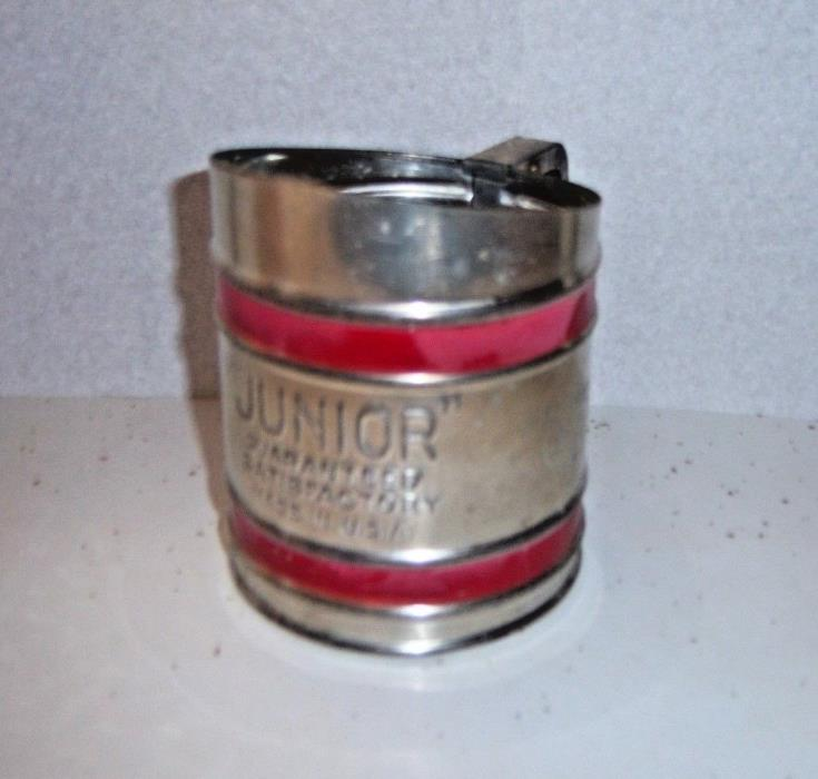 """Vintage """"Junior"""" Tin Hand Flour Sifter, Red Bands Made In The USA"""