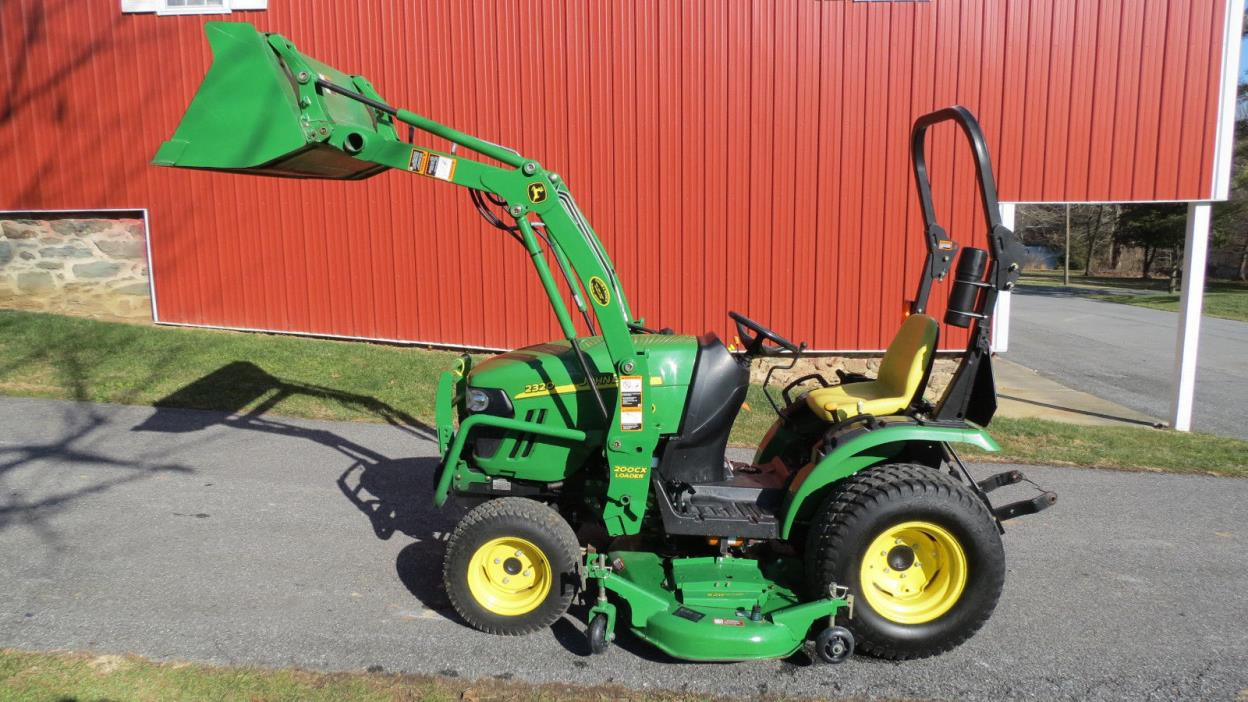 2012 JOHN DEERE 2320 4X4 COMPACT UTILITY TRACTOR W/ LOADER & MOWER HYDRO 251 HRS