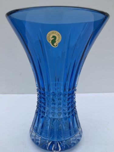 """Waterford Crystal Lismore Diamond Blue Vase 8"""" Sapphire BRAND NEW IN BOX"""