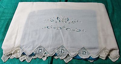 Antique Large Sheet Butterfly Florals Embroidery Cutwork Hand Crocheted Trim