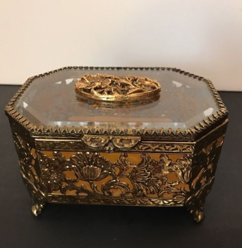Antique Gold Ormolu Filigree Beveled Glass Jewelry CASKET Box Vanity Large