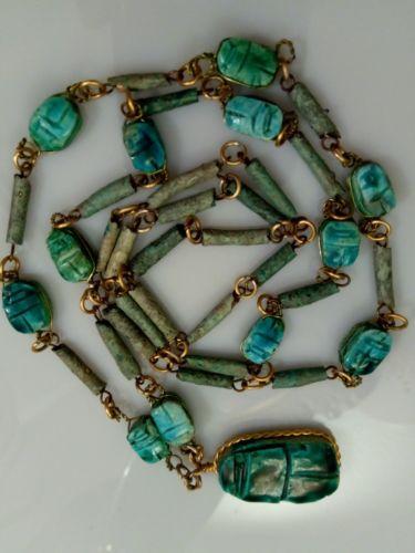 Vintage Faience Glaze Turquoise Stone Beaded Scarab Egyptian Necklace