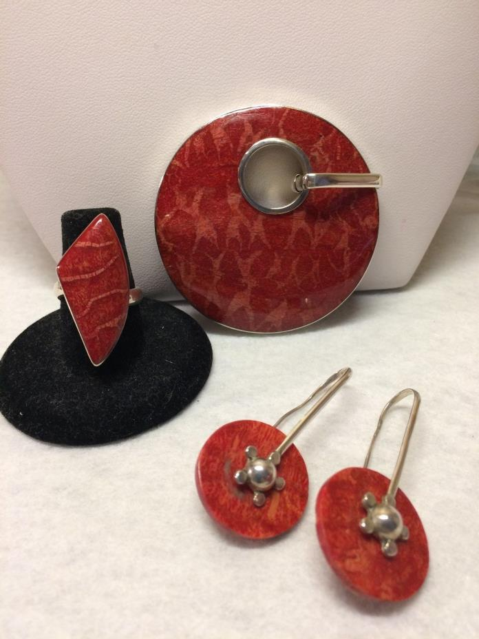 Bold Sterling Silver Red Sea Coral Pendant, Earrings and Ring Set