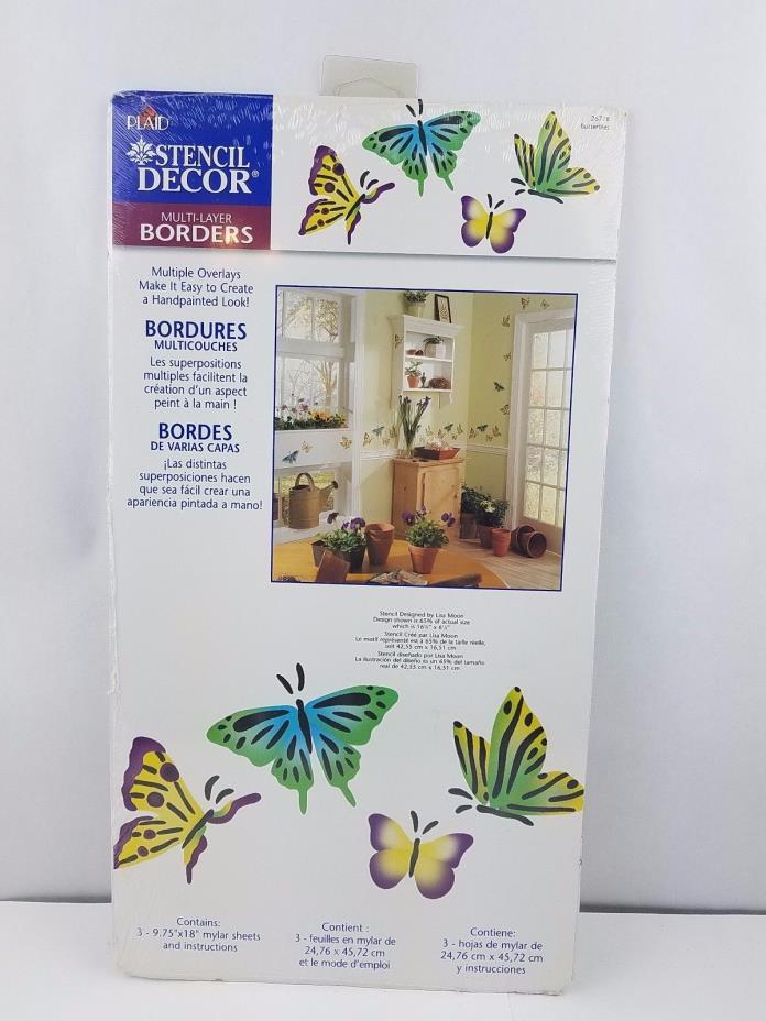 Plaid Stencil Decor Multi-Layer Borders 26778 Butterflies