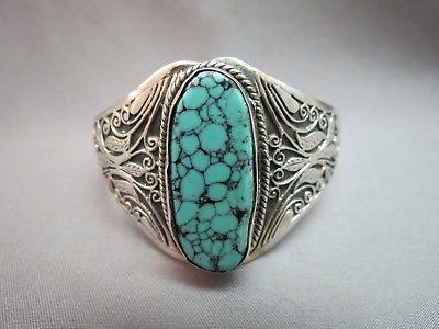 Turquoise Sterling Silver Bracelet Cuff 39 Grams Huge 33mm Stone Fancy Scrolls
