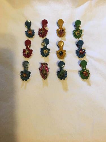 Lot 12 vintage  Christmas Tree Candle Holders Decoration Clip-on metal  colors