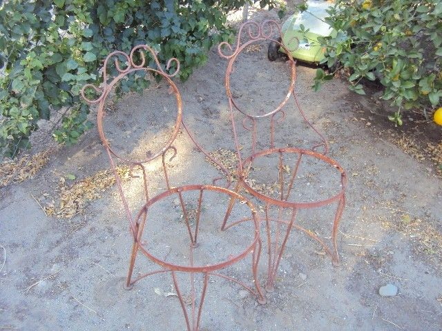 W@W Vintage  Set of 2 ice Cream Parlor Metal Wire Chair Stools