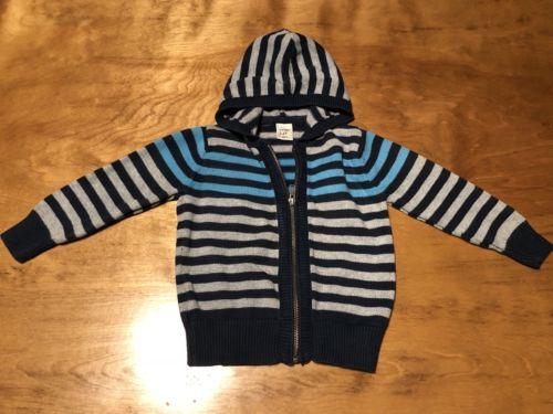 Boy OLD NAVY Sweater / Hoodie - Zip - Long Sleeve - Gray / Blue Stripe - 2T