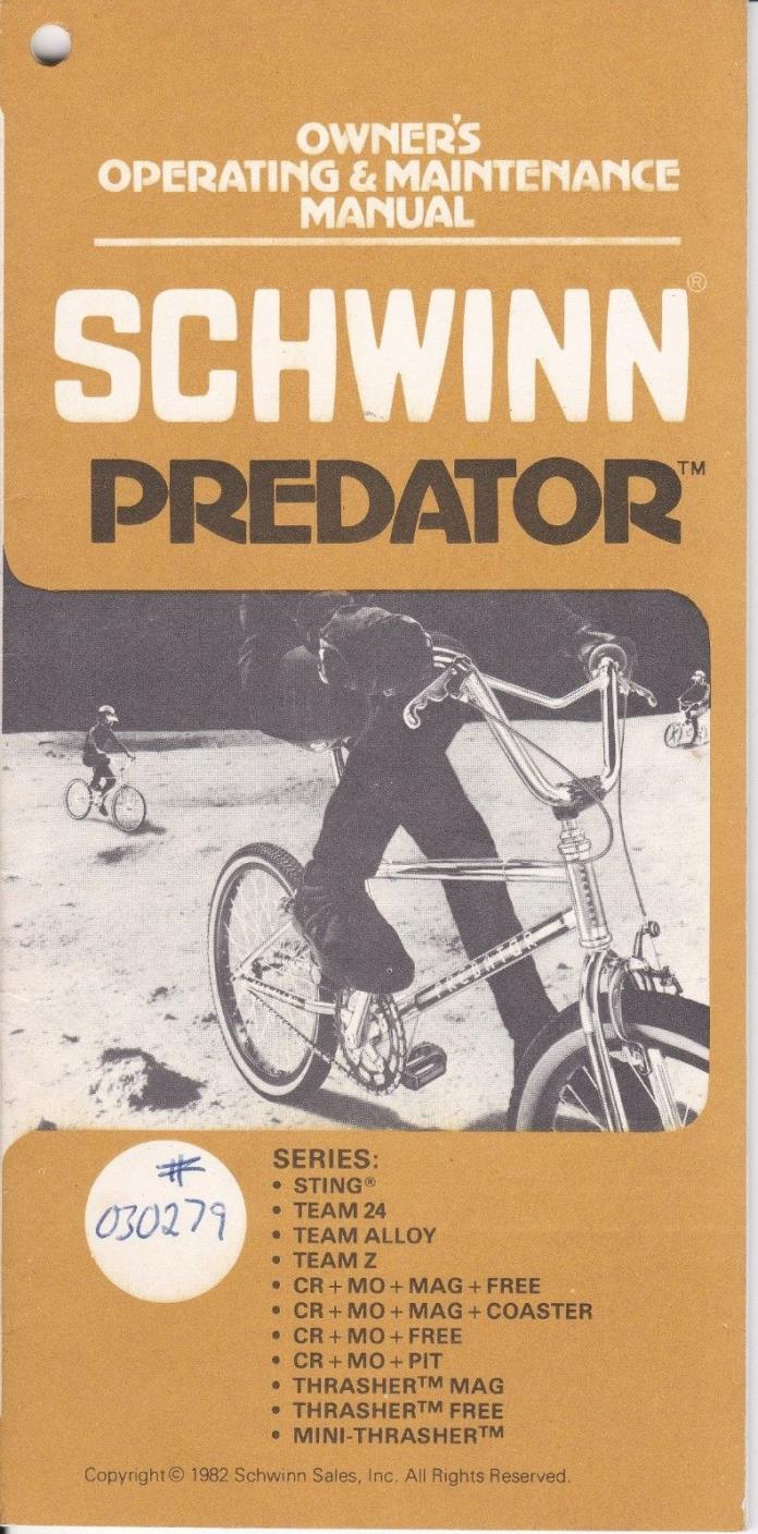 Schwinn Predator 1982 Owners Manual BMX Bike Vintage booklet Sting Thrasher Rare