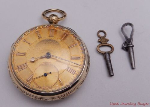 Antique Fusee 18k Yellow Gold Key Wind Key Set Pocket Watch Serviced 7/16