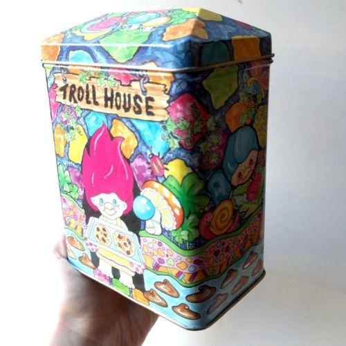 Troll House Tin Vintage 1980's Treasure Trolls Cookie Jar Kids Nostalgia Bin